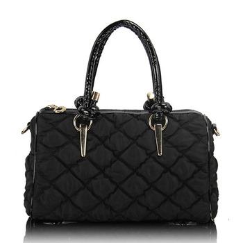 2012 handbag one shoulder cross-body dimond plaid fabric down space cotton-padded jacket hand warmer women's handbag