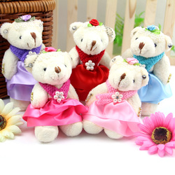 Cartoon bear scarf teddy bear cell phone accessories wedding gift plush toy bags small(China (Mainland))