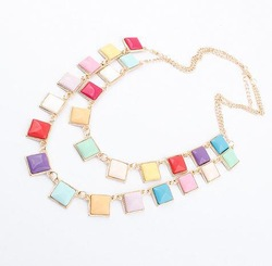 Min.order is $10(mix) 5147 color alloy double square choker necklace fashion necklace wholesale jewelry 2013(China (Mainland))