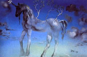 Pintado a mano pintura al óleo el feliz unicornio reproducción by Salvador Dali
