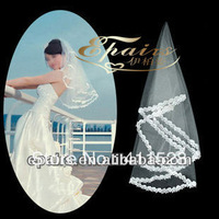 WV10 2013 Popular Tulle Lace Edge Mid-length White Wedding Bridal Veil