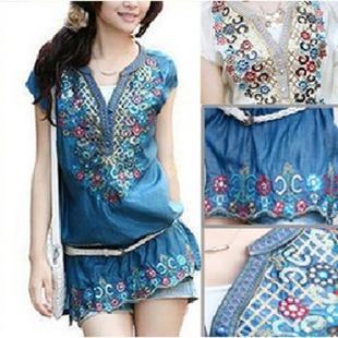 print dress 2013 bohemia dress embroidery size plus women V-neck short-sleeve chiffon one-piece dress paillette