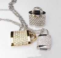 Free Shipping Best selling Crystal Heart Silver and Gold Jewelry flashdrive Memory Lock Stick 1gb 2gb 4gb 8gb 16gb 32gb