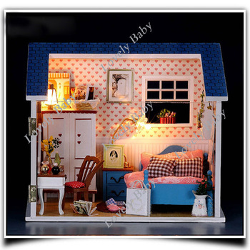 Bedroom DIY Wood Dollhouse Large Dream Villa Room house doll toys all Furniture including 10382