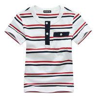 Wholesale 5 pcs summer Children boy Kids baby red white striped casual style short sleeve cotton shirt/ T-shirt  top PEXZ01P51