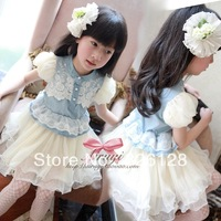 2013 New Arrival summer female child denim lace puff sleeve one-piece dress child princess dress