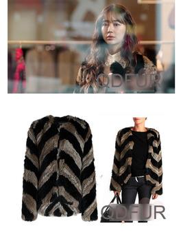 2013 Autumn  Women's Real Genuine Nature Knitted Rabbit Fur Coat Jacket Winter Women Fur Outerwear Coats QD24250