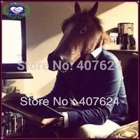 30pcs/lot Free Shipping Wholesale Eco-friendly Latex Creepy Horse Mask Full Head Halloween Animal Masks(Brown, Black, White)