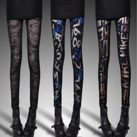 2013 double layer meat legging female letter elastic fancy legging leopard print spring and autumn