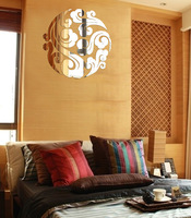 2014 acrylic mirror diy 3d wall sticker traditional chinese mirror surface wall decal for home decor