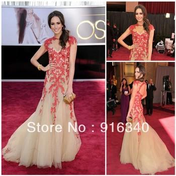 2013 OSCAR Celebrity Dresses Cap Sleeve Louise Roe Red Lace Applique Tulle Mermaid Trumpet Boutique Evening Dress