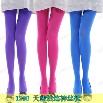 2013 All-match 120d fun stockings velvet rompers candy color girls in the autumn and winter pants socks warm socks 6188