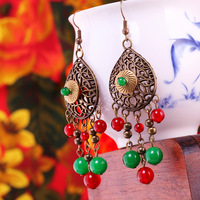 Chinese Traditional Classic Style Red Agate Chrysoprase  Ethnic Handmade Earrings Free Shipping