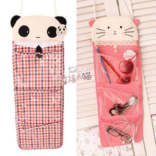 Plaid polka dot cat cloth doll door hanging plush 3 fps bag storage bag