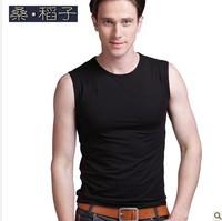 Rice 2013 summer sleeveless o-neck shirt basic ultra elastic lycra cotton vest tight casual basic t