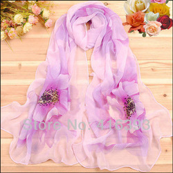 Free Shipping wholesale 2013 New Fashion Women's Scarf spring & autumn chiffon printing silk scarves flower very beautiful(China (Mainland))