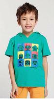 Wholesale 7 pcs summer Children Child boy Kid gray green hoody hooded casual style short sleeve cotton shirt/ T-shirt PDXZ01P17