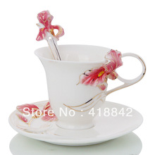 Porcelain Red Lady French Iris Flower Coffee Tea Set Cup/Mug/Spoon/Saucer/Disk Holiday Gift