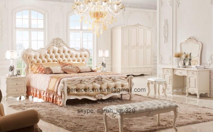 Style Bedroom Sets Real Leather Bed Frame White Oak Solidwood Carved