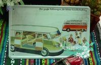 Vintage metal painting retro finishing coffee decorative painting volkswagen bus