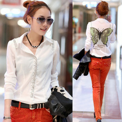 2013 OL Outfit Feature Butterfly Beaded Pullover Slim Women's Shirt(China (Mainland))