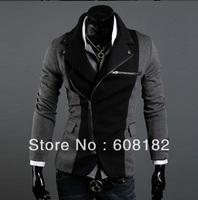 New Fashion Man Jacket Mandarin Collar Oblique Zipper Sportswear Male  Winter Warm Pea Trench Coat  201208057
