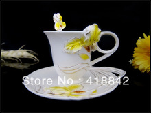 Porcelain Yellow Lady French Iris Flower Coffee Tea Set Cup/Mug/Spoon/Saucer/Disk Weddings gift Holiday Gift