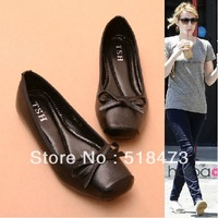Free shipping  Comfortable leisure square flat shoes, bow for women's shoes,European size 35-41