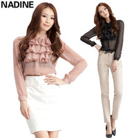 Nadine 2012 autumn chiffon ruffle fashion ol elegant gentlewomen shirt clothing female