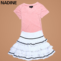 Nadine 2012 nadine all-match t-shirt female short-sleeve 100% cotton short skirt puff skirt casual set summer