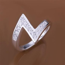 R154 Fashion 925 Sterling Silver CZ Diamond Ring Silver 925 Jewelry Free Shipping(China (Mainland))