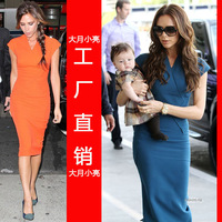 013 autumn beckham vixtoria slim hip knitted one-piece dress