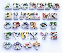 Multicolor Metal alphabet charms fit leather belt bracelet crystal alloy beads 200pcs