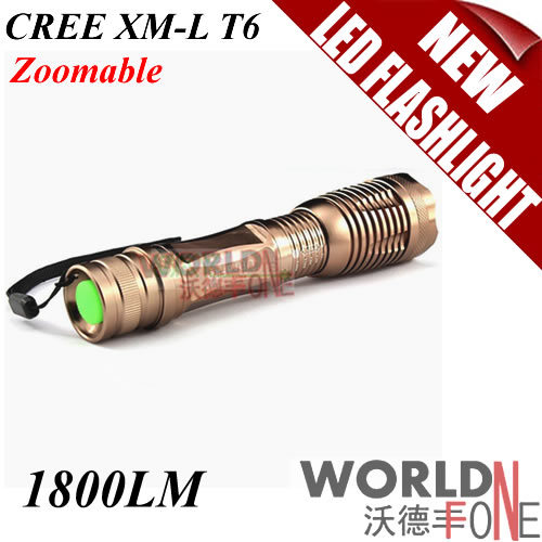 FS! Brown E6 1800 Lumen Zoomable CREE XM-L T6 LED Flashlight Torch 7-mode Zoom Lamp Light 20pcs/lot (WF-LF16) [Worldfone](China (Mainland))