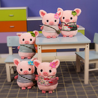 free shipping Pig doll vintage school bag tang suit pig plush toy dudu cloth doll birthday gift