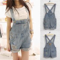 2013 new summer woman denim short pants overall ,girls hole Short Jeans,Fashion Jumpsuits pocket ,cool suspender jeans romper