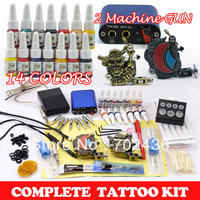 Professional Tattoo Kit Set 2 Tattoo Machine Guns 14 Color Inks Power Supply body art Free shipping