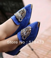 New arrival fashion vintage women's shoes rhinestone leopard head metal pointed toe single shoes flats princess shoes single