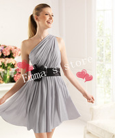 New Style Free Shipping Custom Made 2014 Popular One-Shoulder A-Line Chiffon Bow Silver Party Cocktail Home coming Dresses