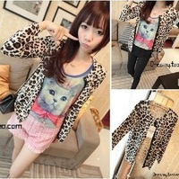 2013 spring excellent sexy leopard print of the wild personality elegant long-sleeve cardigan coat female