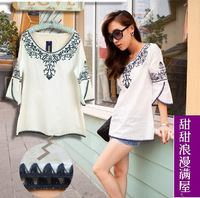 2013 New Fashion women blouse white vintage plus size women clothing summer embroidery flower Bohemia shirt blouse for woman top