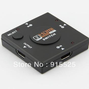 free shipping 6688 for  Mini 3 Port HDMI Switch Switcher HDMI Splitter HDMI Port for HDTV 1080P Vedio
