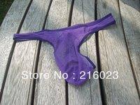 6x Man's Sexy Thong Brief Underwear G-string Mesh Lilac Hot