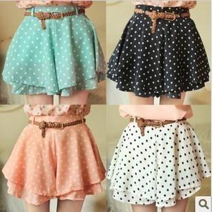 Free Shipping Women's Fashion Chiffon Cute Waist Dress Short Hot Pants Elastic Dots Polka Waist Skirt 4 Colors