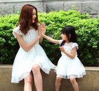 2014 Spring&Summer Lace Dress for Mother & Daughter Chiffon 1 Piece Dress Puff Skirt Dress Family Fashion Summer Dress Free Ship