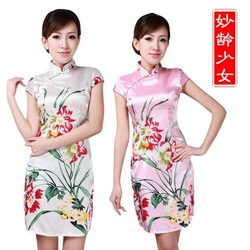2013 summer chinese style qipao short vintage silk cheongsam dress tang suit cheongsam dress d0(China (Mainland))
