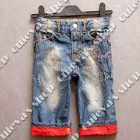 Wholesale - Baby Boy's Jeans Adjustable Waist Red Bottom Flange Crop Kids Pants 9-12 12-18 18-24M 6 Pieces A Lot