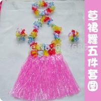 Wholesale 20 Sets Hawaiian Hula Grass Skirt Set, Luau Flower Skirt Flower Lei Bracelet Headband Children Kids Party Multicolor