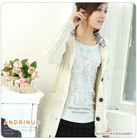 2012 autumn and winter sweater cardigan with a hood long design plaid cap outerwear hot-selling sweater women's