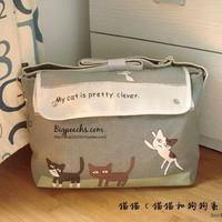 Neko cat female messenger bag canvas bag student school bag vintage bag 2013